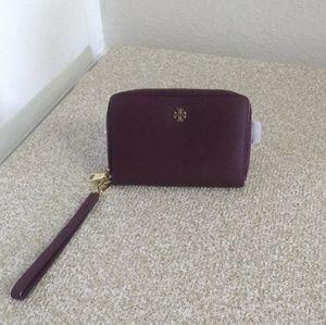 Tory Burch Burgundy Saffiano Leather Wristlet